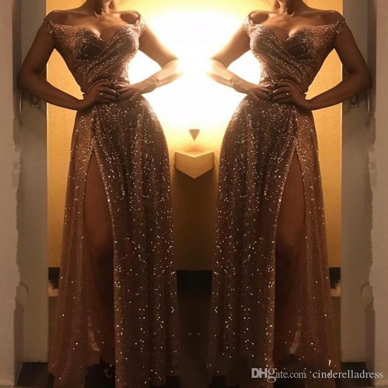 Gorgeous Sequins Off-the-Shoulder Prom Dresses Gold 2019 Custom Made Sexy Long Evening Party Dress With Split BC1409