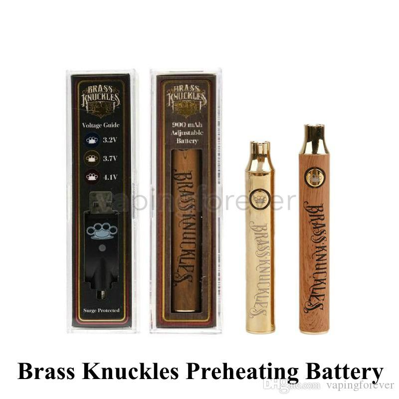 Brass Knuckles Vape Battery 650mAh Gold 900mAh Preheating Variable Voltage Adjustable E-Cigarette Battery Pen For 510 Thick Oil Cartridges