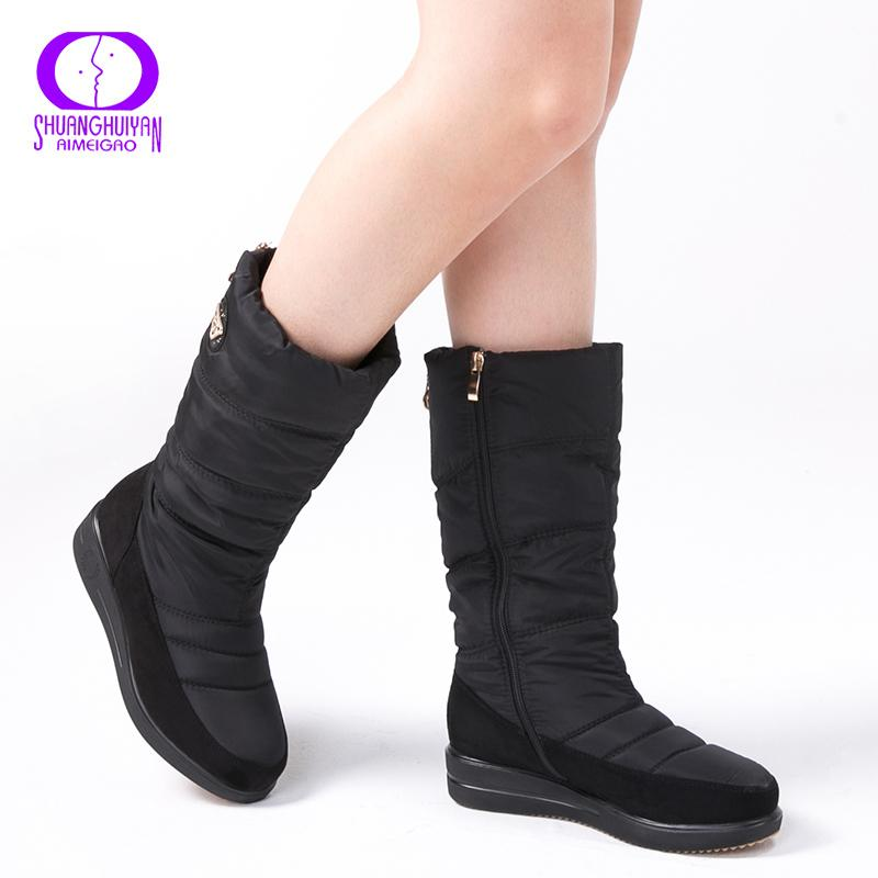 New Arrival Warm Fur Snow Boots Women Plush Insole Waterproof Boots Platform Heels Mid-calf Black Boots High Quality