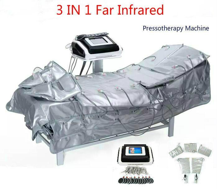 3 في 1 العضلات الأشعة تحت الحمراء الأقصى Pressotherapy EMS الكهربائية الضغط تحفيز ساونا الهواء Pressotherapy الليمفاوية الصرف الجسم آلة التخسيس