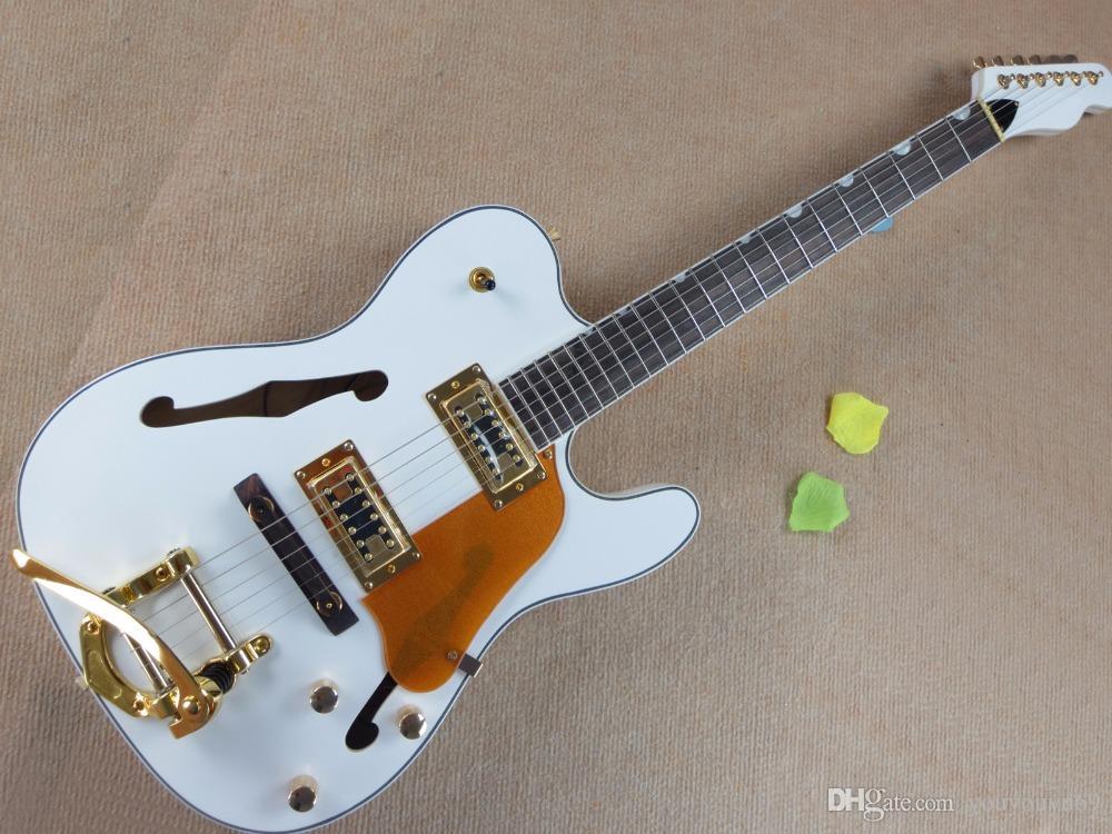 bianco chitarra all'ingrosso semi-vuoto elettrico con Nero Link, sistema tremolo, hardware oro Battipenna, trasporto libero