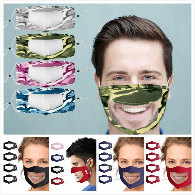 PVC transparente de la mascarilla especial anti-vaho transpirable lavable de la mascarilla de la cara cubierta Moda camuflaje de algodón reutilizable envío