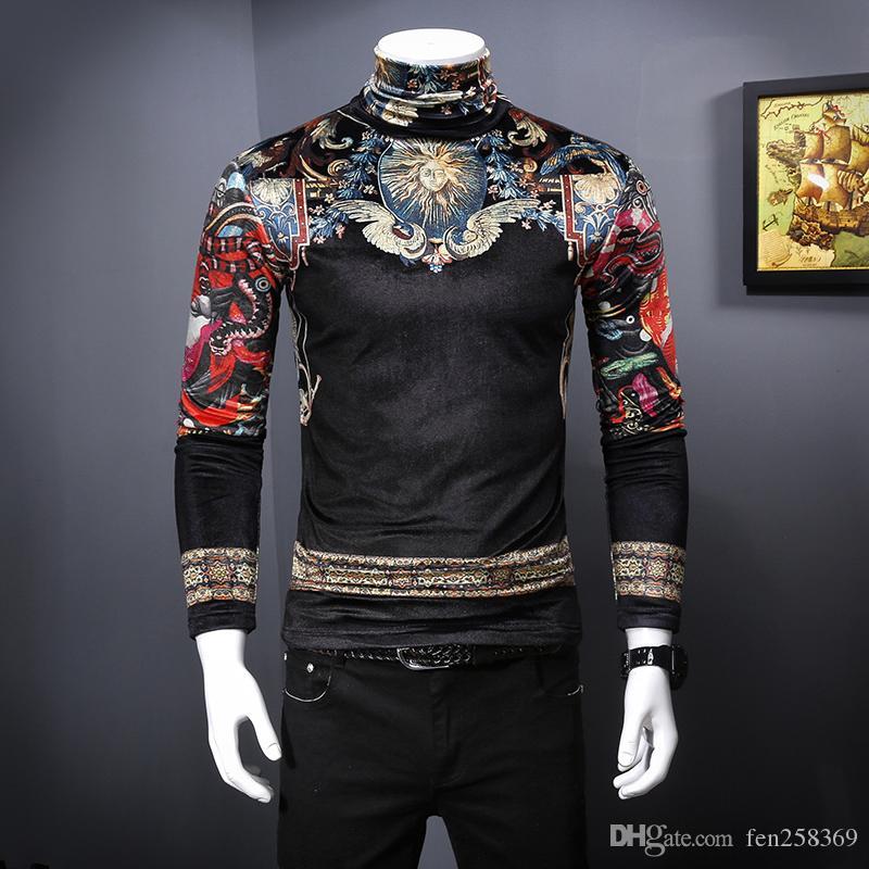 2019 осенью и зимой мужской новой золотой бархат плюс бархат с длинными рукавами футболки корейский Тонкий мужской высокий воротник рубашки пассивом