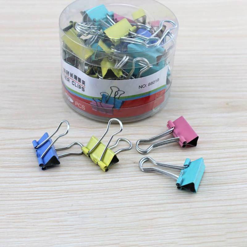 قصاصة ورق 40PCS 19MM Foldback اللوازم ملزم البسيطة الملونة كليب بيندر مكتب معدني اللون القرطاسية عشوائية كليب الوثيقة