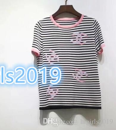 High-end women grils short sleeve shirts STRETCH VISCOSE Knitted stripes tees Dresses shirts with log Brand Same Style Pullover jacquard