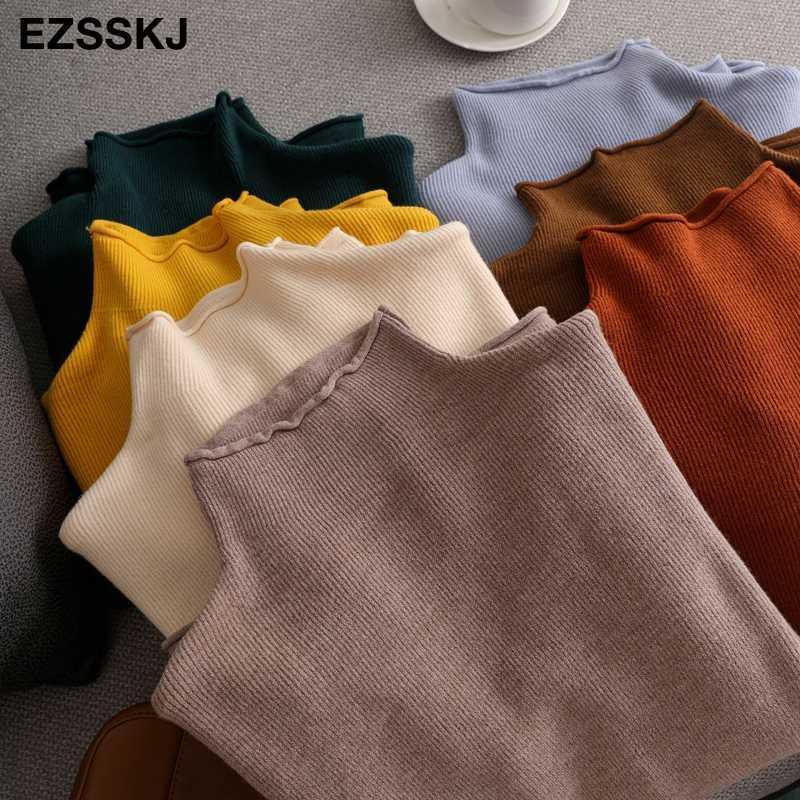 oversize Sweater Mulheres pulôver gola alta manga comprida chique capota 2020 camisola de malha Feminino Jumpers solta Casual