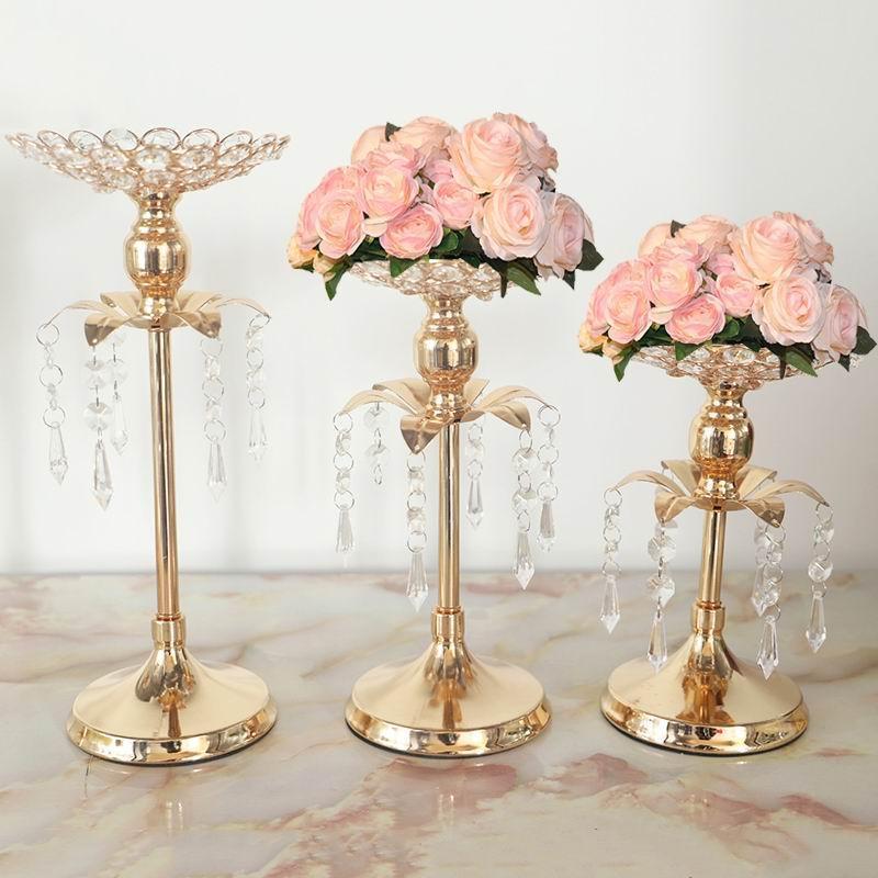 Candela di cristallo dell'oro cerimonia nuziale del supporto Decorazione Holder Tabella Centrotavola Candelabri festa di compleanno Flower Vase Home Decor