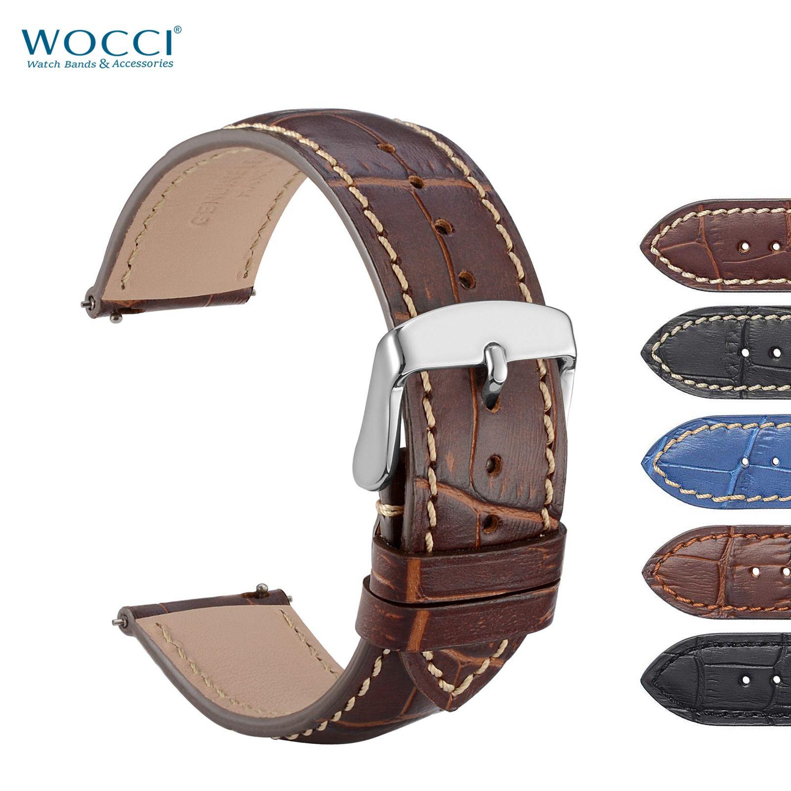 WOCCI Bandas de reloj de cuero de cocodrilo en relieve para el reloj de lujo Nuevo estilo de liberación rápida hombres mujeres reloj correa de reemplazo pulsera