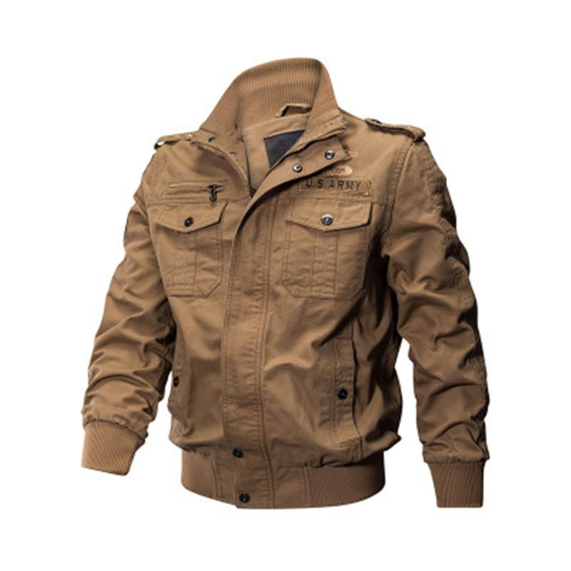 2019 Designer New Bomber Frühling und Herbst Jacke Men Cotton Military Thin Coat Multi-Tasche Emblem Dekorieren Biker Fashion Jacken Großhandel