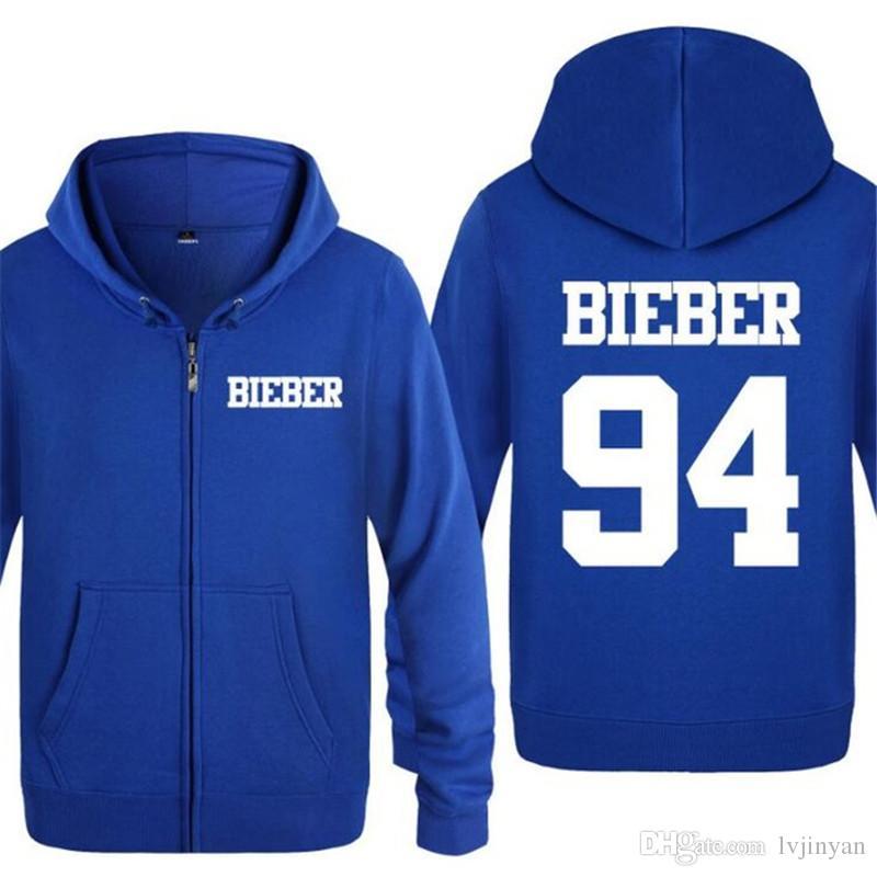 Mens Hoodies Rock Justin Bieber Printed Hoodie Men Hip Hop Fleece Zipper Jacket Coat Winter Men's Sweatshirt Music Fans Clothing