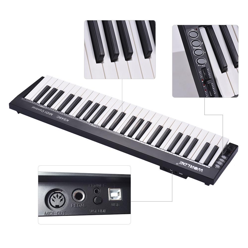 Tastiera MIDI tastiera worlde MIDI controller KS49C 49 Chiavi USB con 6,35 millimetri pedale Jack MIDI Out