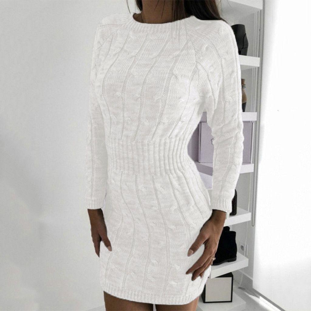 Kadınlar Sonbahar Kış Beyaz Triko Elbise Uzun Kollu BODYCON Parti Triko Elbise Günlük Elbise Şık vestidos de festa 2019