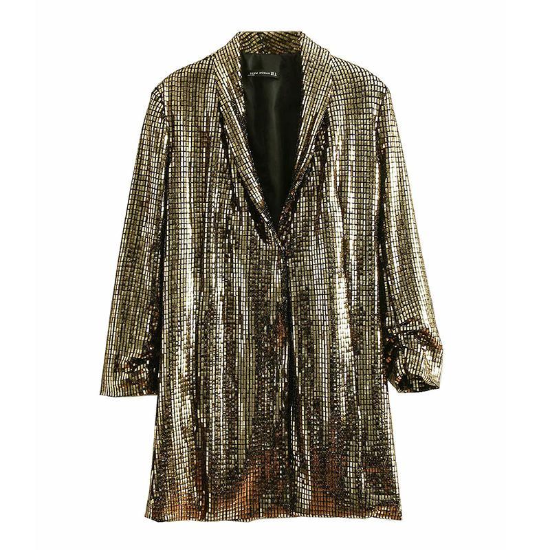 봄 트렌치 코트 럭셔리 런웨이 롱 슬리브 여성 자켓 블링 스몰 롱 아우터 스 코트 패션 오피스 레이디 슬림