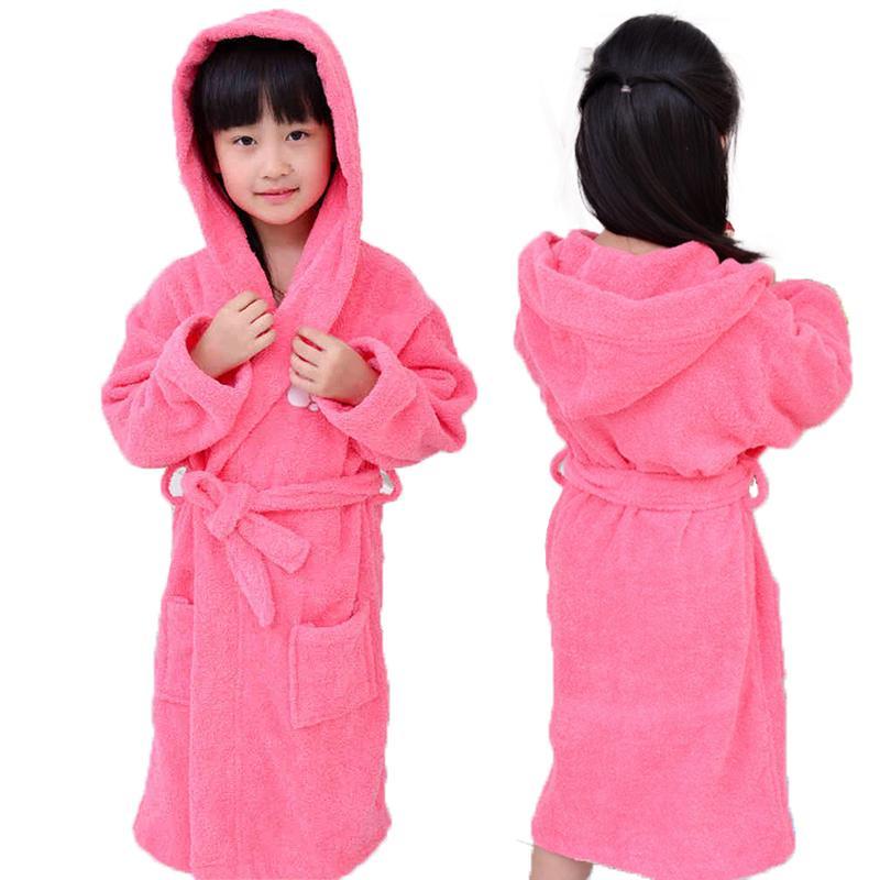 Хлопок девушки детские халаты дети мальчики с капюшоном Зима Весна халат полотенце флис пижамы мультфильм Детская одежда пижамы Y200425