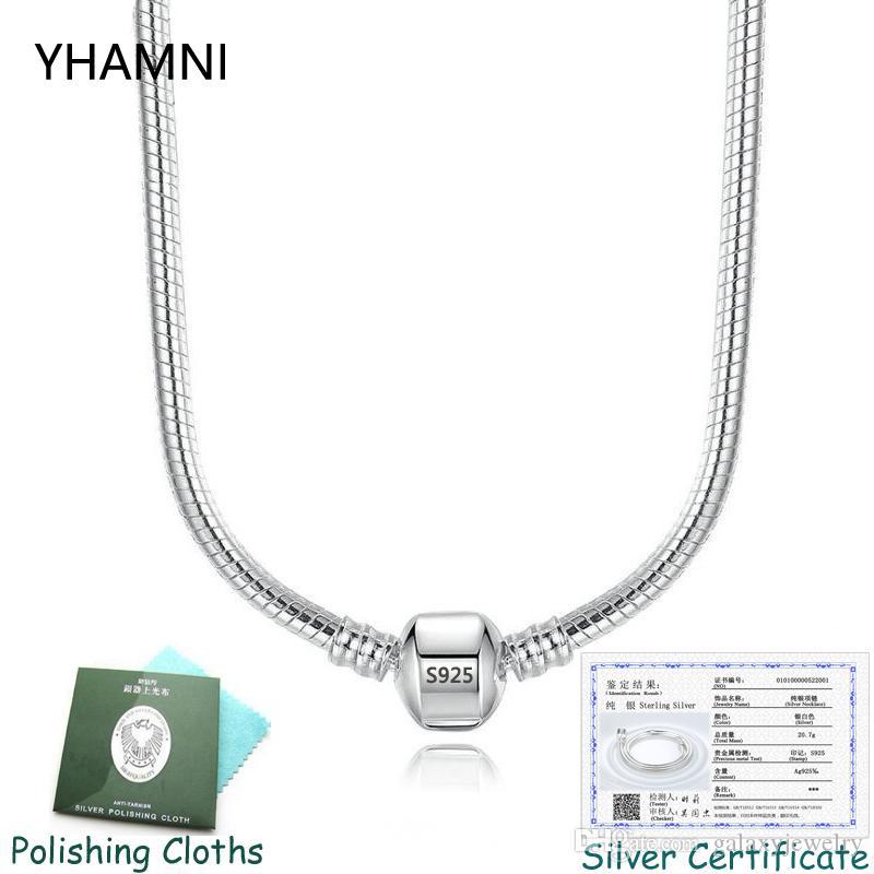 Belgesi var! Kadınlara 45/50 / 55 / 60CM için% 100 Gerçek 925 Katı Gümüş 3mm Yılan Kemik Charms kolye Orijinal Pandora Charm Zincir kolye