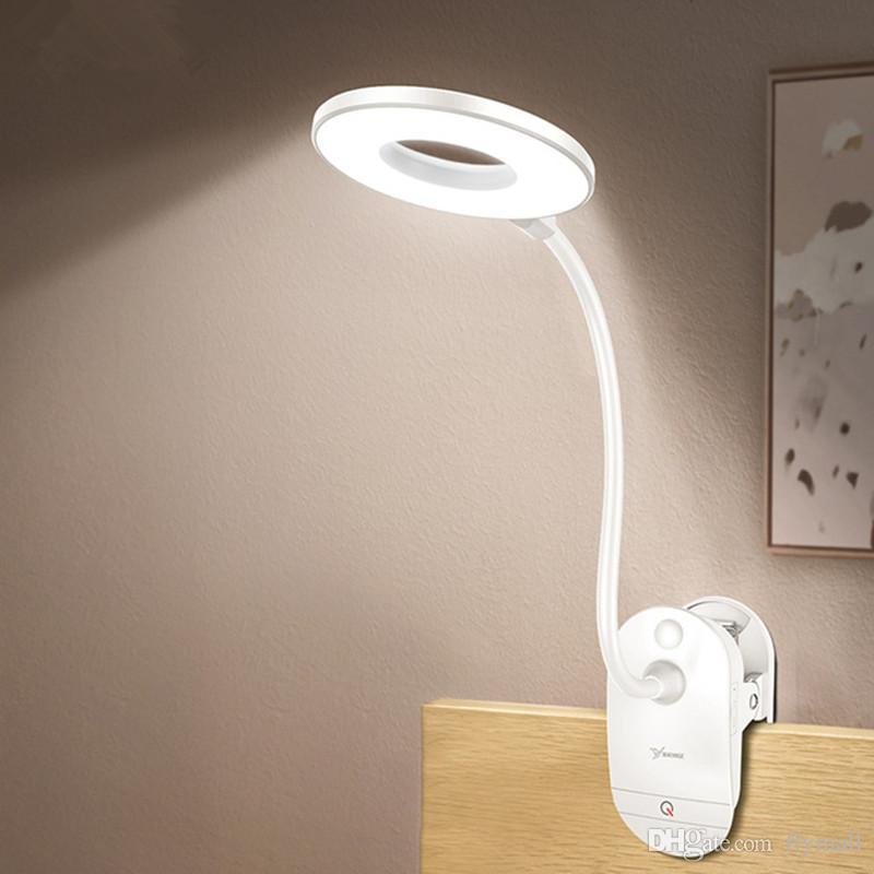 LED Touch On / off Interruptor de 3 Modos Clipe Lâmpada de Mesa 7000 K Proteção Para Os Olhos Leitura Dimmer Recarregável USB Led Candeeiros De Mesa