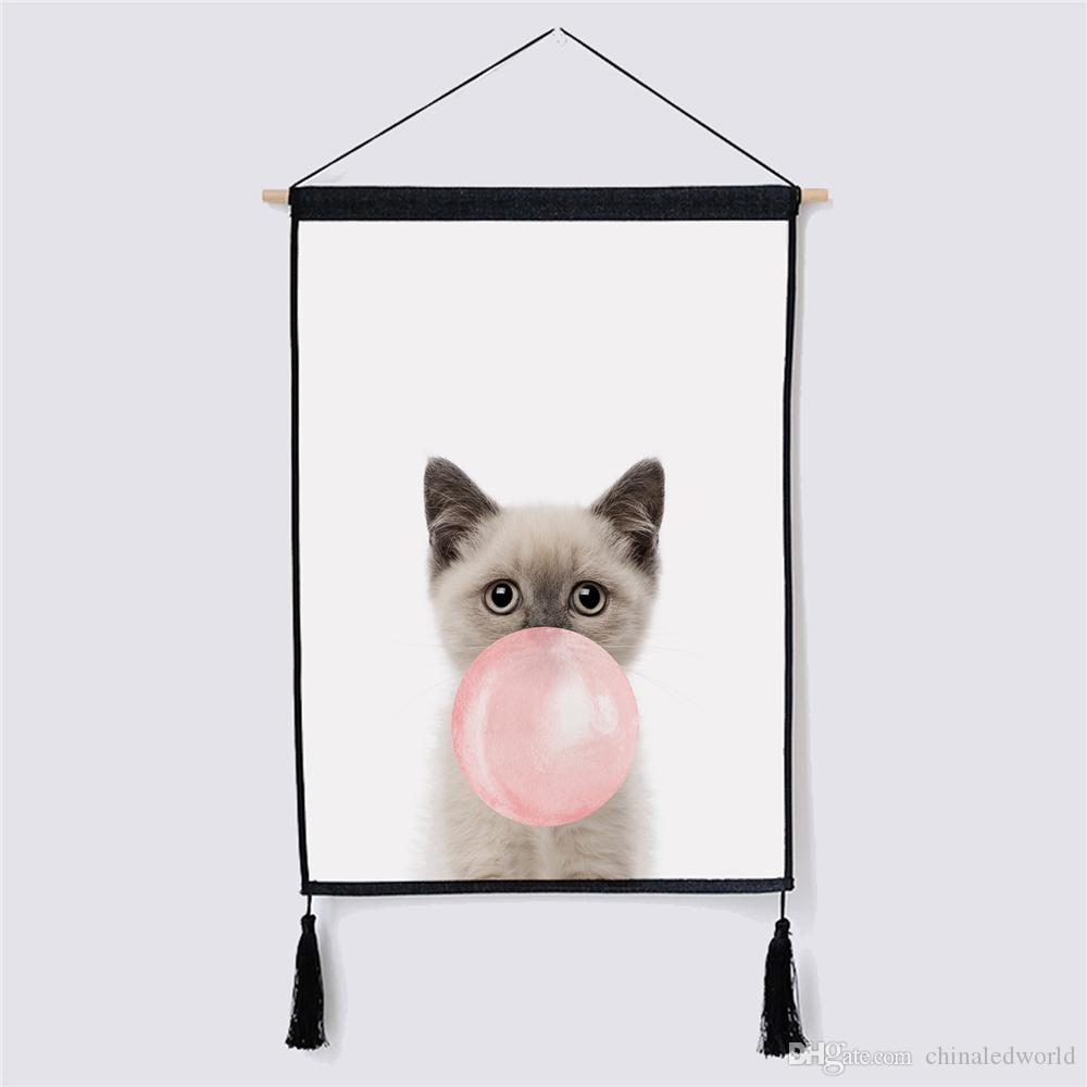 Cute Cat Fabric Hanging Painting