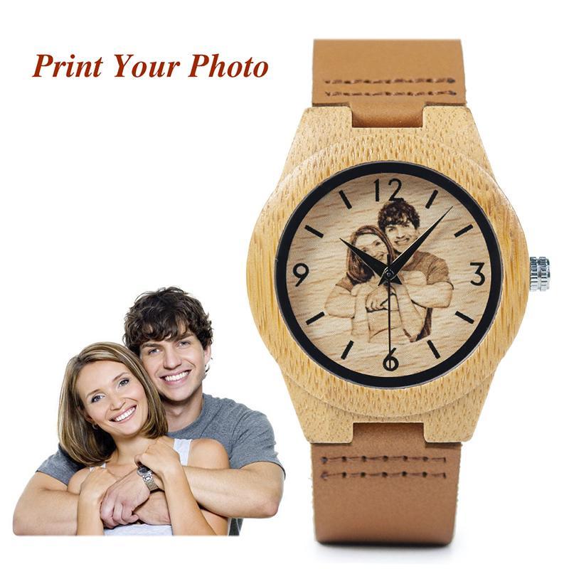 Bobo Bird Creative Gift Wood Watch Hombres Mujeres Fotos Impresión UV en reloj de madera Oem Regalo personalizado Y19062004