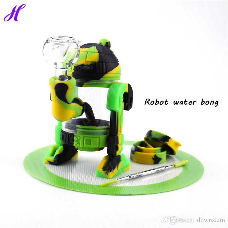 forme Robot tuyau silicone pipe exclusive fumeurs Pipes Bubbler Incassable silicone Bangs fumeurs Herb sec verre d'eau Bong