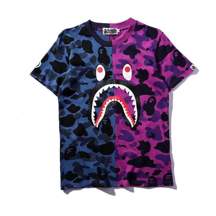 Sommer-Mann-Frauen-Farbe, die purpurrote blaue Camouflage-T-Shirts zusammenbringt Jugendlich-Schwarz-Grün-Camouflage-Splice-Persönlichkeits-T-Shirts