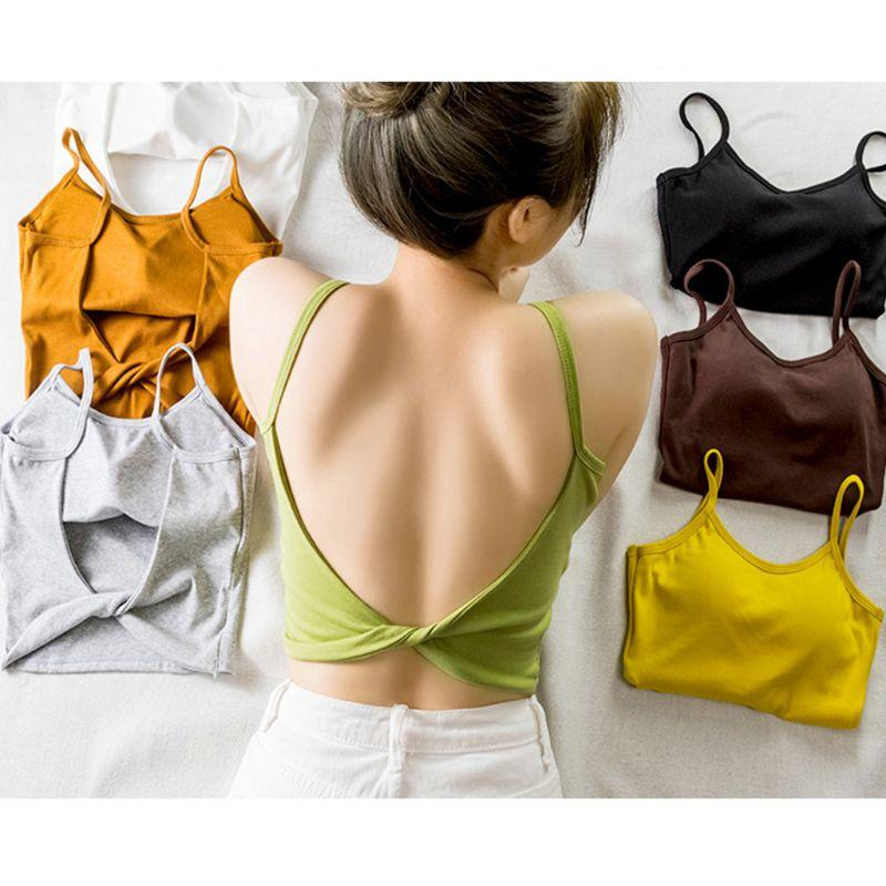 Les femmes sexy dos nu Twist Knot Camisole Lady Summer Bight Solide Couleur Padded Débardeur Casual Basic Slim Fit Sling Gilet Beachwear