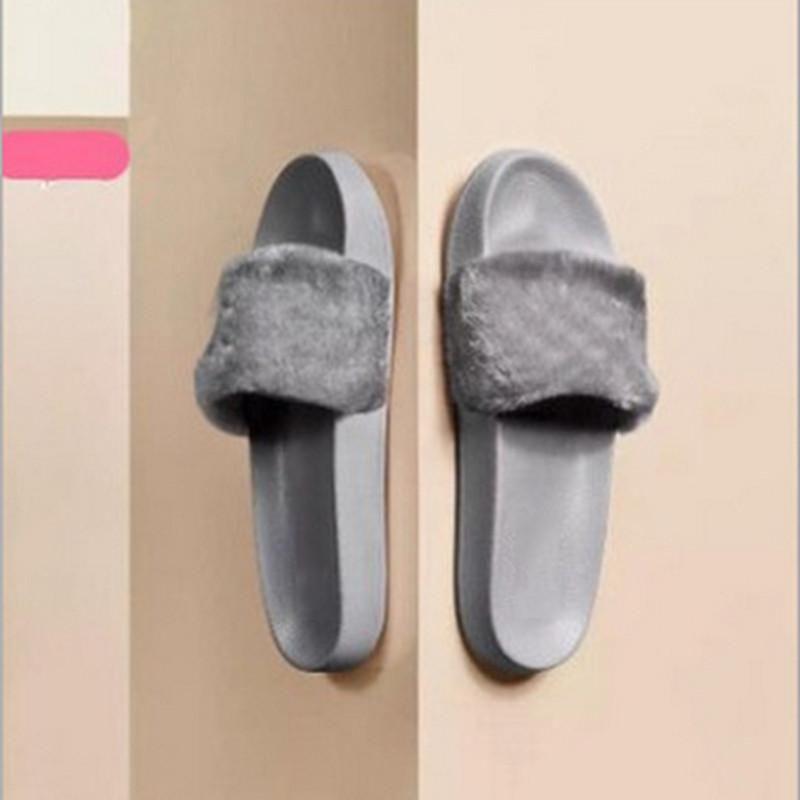 Leadcat 2019 Fenty Rihanna Обувь для женщин Тапочки на открытом воздухе Сандалии для девочек Модные потертости Розовый Черный Серый Меховые горки Star SWith Женская обувь