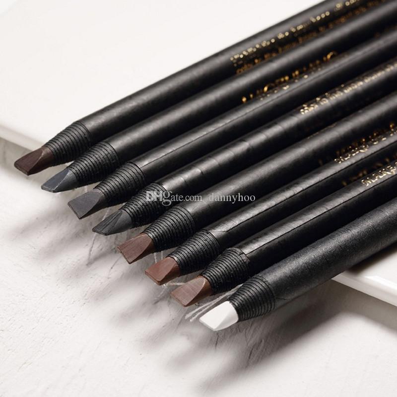 8 색 라인 눈썹 연필 방수 Microblading 펜 오래 지속 눈썹 증강 쉬운 아이 브로우 색조 메이크업 도구를 착용 당겨