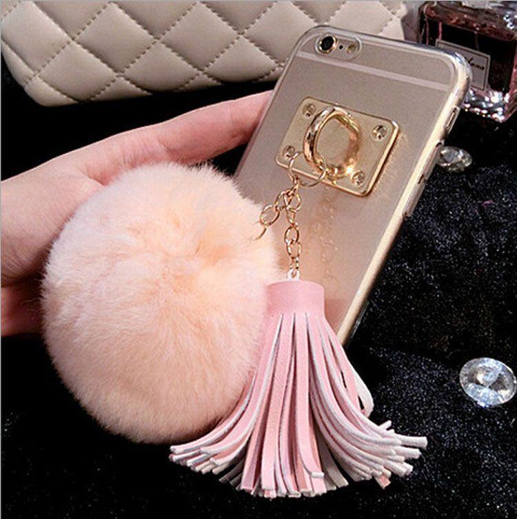 Newest Clear Acrylics Luxury Metal Cute Soft Fur Fluffy Hair Downy Plush Ball Fashion Tassels Phone Case for iPhone X 11 PRO 12