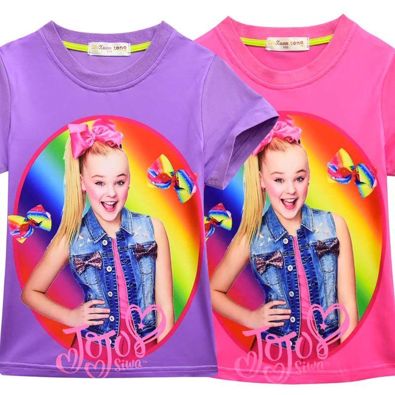 Verão 2019 novo jojo siwa roupas crianças roupas de grife meninas meninas adolescentes roupas de algodão de manga curta meninas camisa t-shirt a2246
