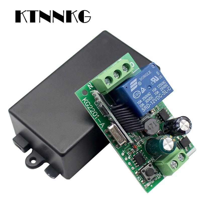 Bon marché Télécommandes KTNNKG AC 85 110V 220 V 433Mhz universelle Télécommande sans fil commutateur de commande de relais 1CH Module récepteur RF pour 433 Mhz