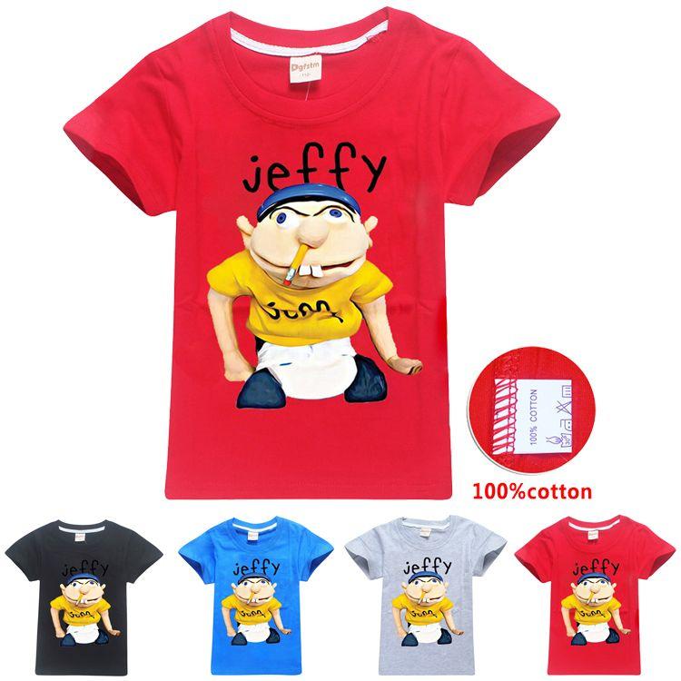 sml Jeffy crianças impressos camisetas 6-14T Crianças Meninos dos desenhos animados de impressão 100% algodão T camisas 115-165cm Crianças roupas de grife Meninos Atacado ZSS383