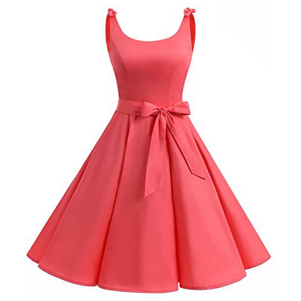 Women Vintage Backless Red Dress Plus Size 50s Party Prom Sleeveless Swing  Dress Women In Summer Dresses Women Dressed From Balsamor, $24.75| ...