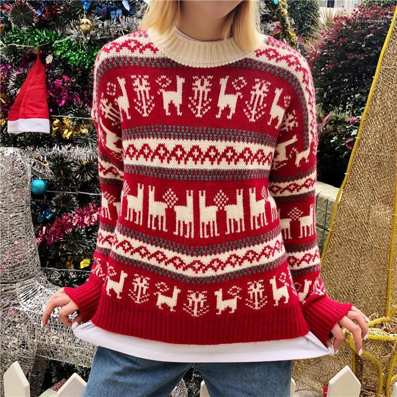 Clothing Fashion Casual Apprel Womens Winter Desinger Christmas Sweaters Crew Neck Long Sleeve Festival Style Female