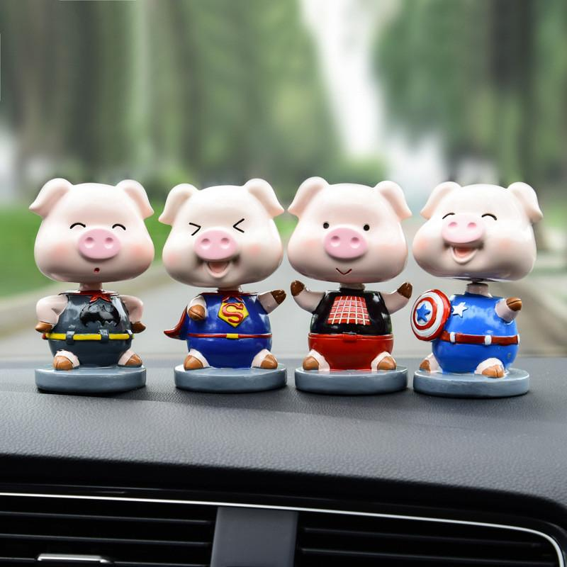 [Cute] Car Ornaments Resin Cartoon anime shaking head pig Auto Decoration Accessories Craft gift The Avengers