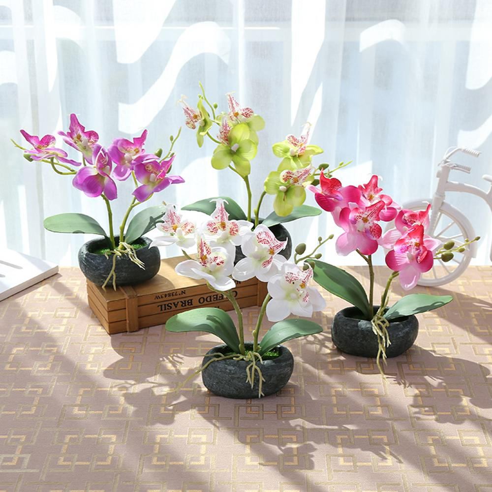 Artificial Butterfly Orchid Potted plants silk Flower with Plastic pots moss Home Balcony Celebrate the holidays with home decor