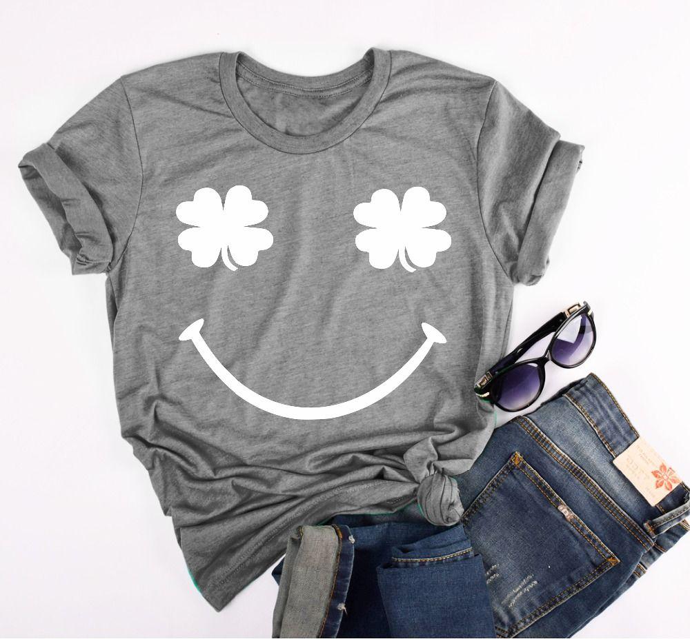 Shamrock t-shirt goth art camicia grunge qualità estetico pastello top Feminina Camiseta donne divertenti grafico tumblr quote tees top
