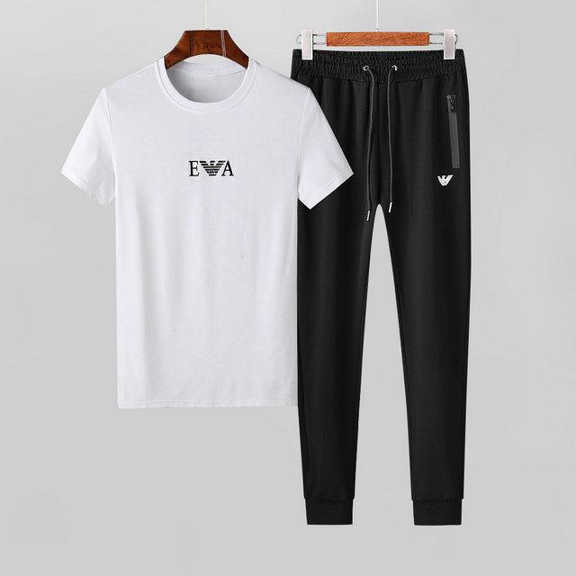 2020 Mercerisieren Cotton Licht Stoff Refreshing Bewegung Freizeit Short Sleeve Suit Male Schlank Weiß Zweiteilige Seti04