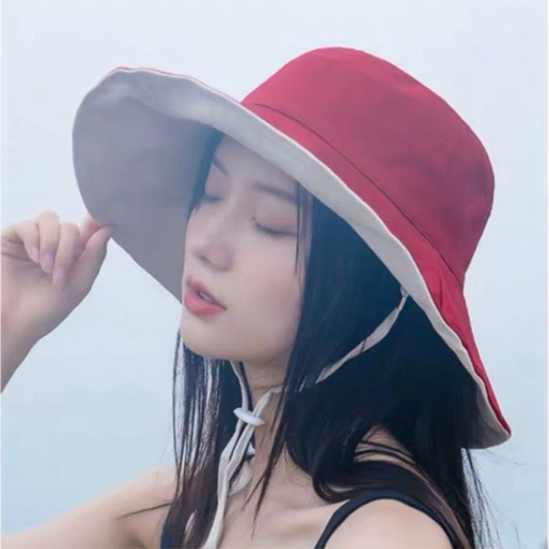 2020 anti-UV wide Brim cotton linen sun hat for women vacation summer panama foldable bucket hat large brim korean beach sun