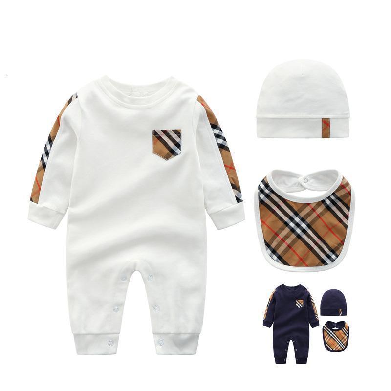 Herbst Stil Baby-Mädchen-Strampler Long Sleeve Plaid Baby-Overall-Hut Lätzchen 3Pcs Beiläufigen Ausstattung Neugeborene Baby-Kleidung