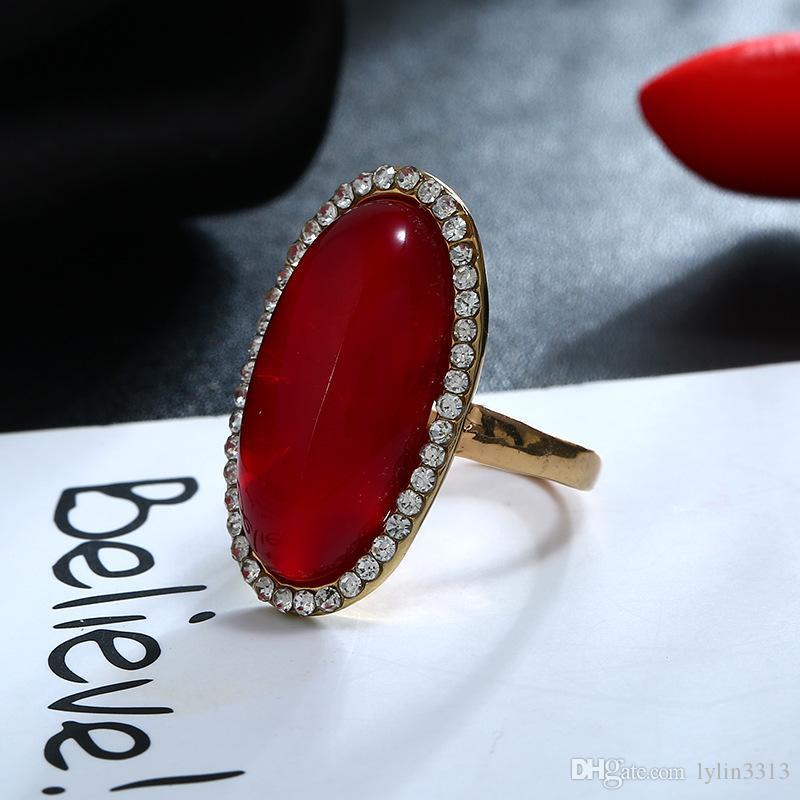 Nouvelle arrivée usine bijoux de mode mousseux pierres précieuses en alliage métallique anneau plaqué or fille bagues cadeau de bal