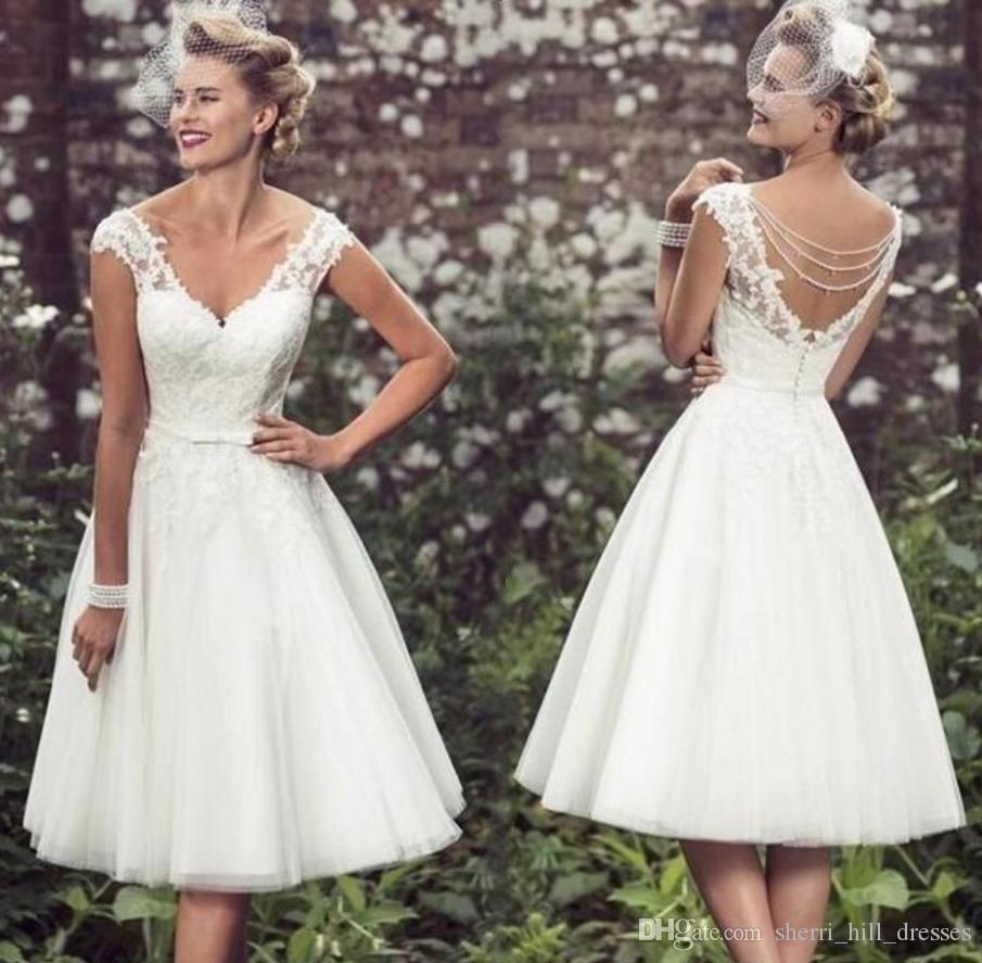 Discount Elegant Tea Short Wedding Dresses Cap Sleeves Appliques Lace Wedding Gowns Tulle V Neck Short Bridal Gowns Country Wedding Dresses Dh4002 Cream Wedding Dresses Designer Wedding Dress From Sherri Hill Dresses 99 5 Dhgate Com,Beach Wedding Guest Dresses White