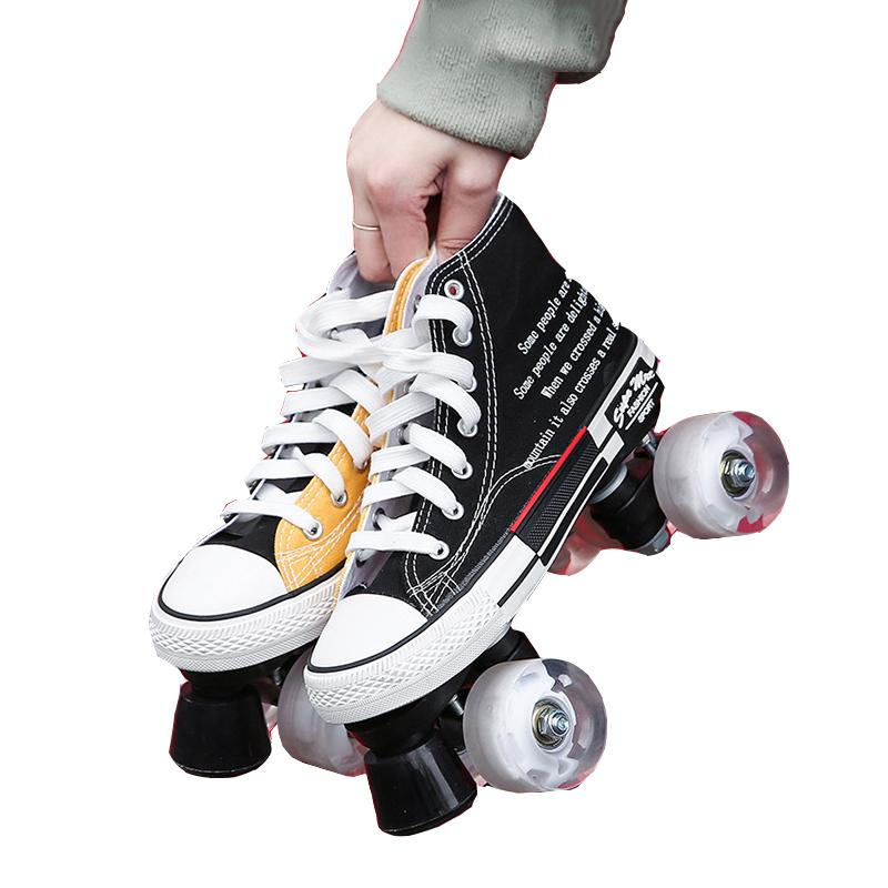 مبيعات المصنع مباشرة لون جديد قماش أحذية انقر نقرا مزدوجا صف الرول الزلاجات فلاش عجلة التزلج على الجليد الأسطوانة أحذية التدريب في الهواء الطلق رجل امرأة