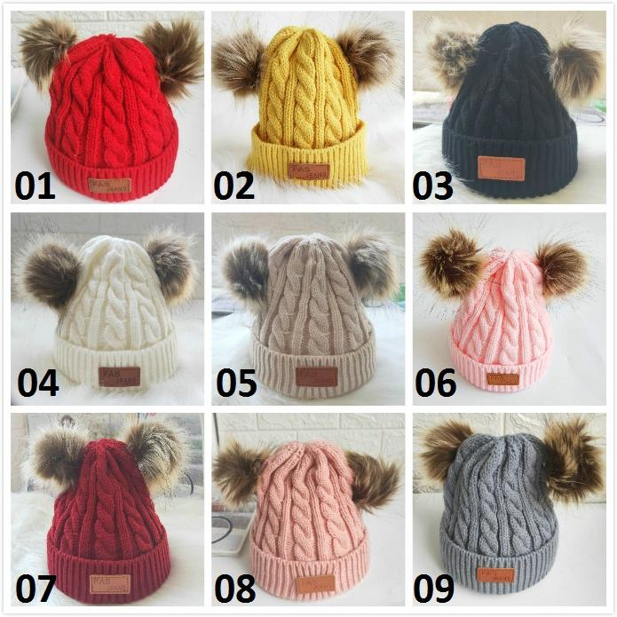 New Baby Knitted Wool Hats Faux Fur Ball Pom Pom Crochet Caps Winter Warm Infant Kids Boys Girls Beanie Cap Hair Accessories 9 Colors dhl