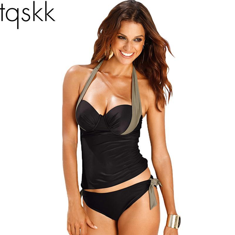 Swimwear Women Swimsuit 2019 Sexy Push Up Tankini Set Vintage Halter Top High Waist Bathing Suit Swim Beach Wear Plus Size 3xl Y19072701