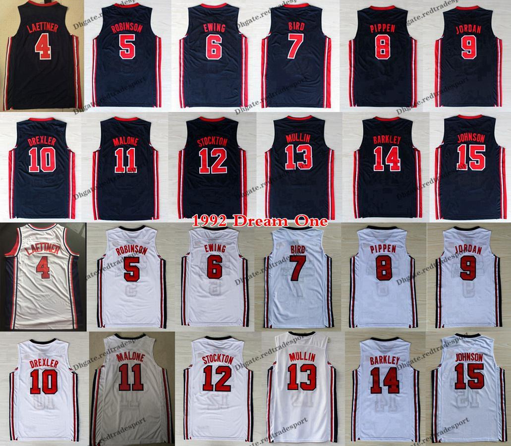 1992 فريق واحد الرجال لاري بيرد مايكل J يوينغ بيبين مولين روبنسون دريكسلر Laettner ستوكتون مالون جونسون باركلي كرة السلة جيرسي
