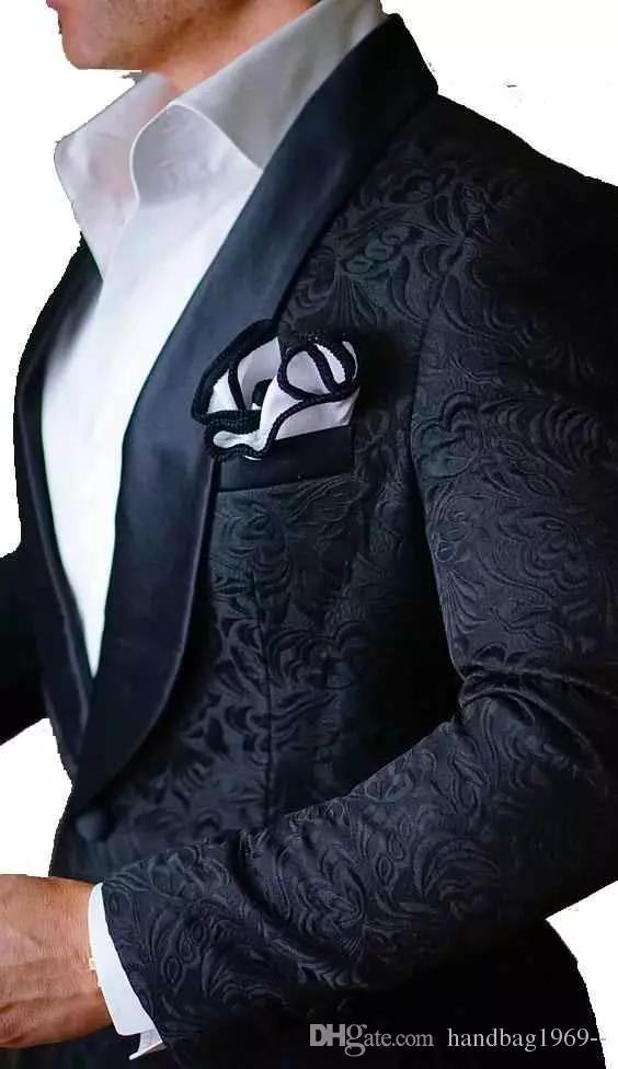 Alta Qualidade um botão Ternos de casamento preto Paisley Noivo Smoking Groomsmen xaile lapela melhor homem Blazer Men (jaqueta + calça + TIE)
