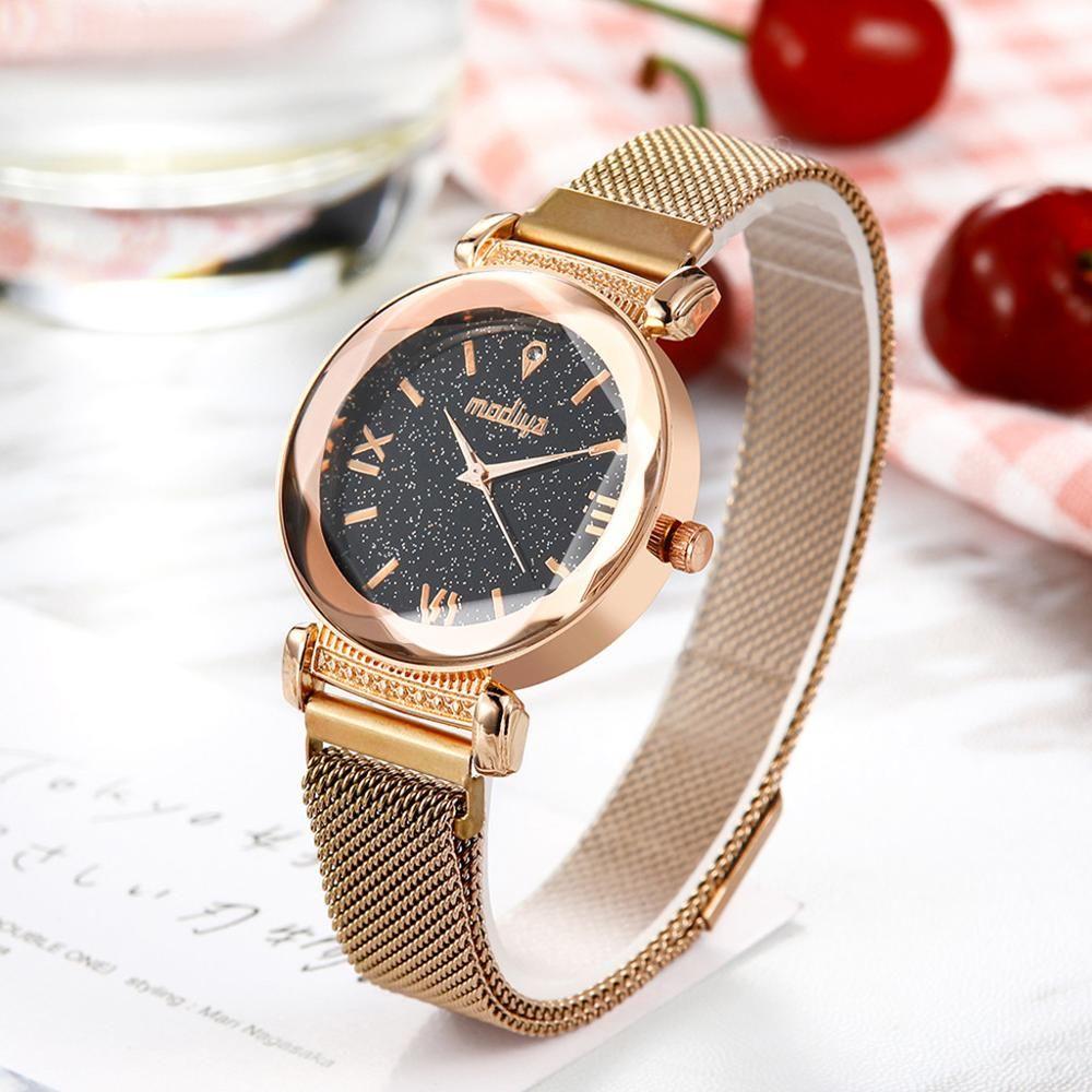Mulheres relógios analógicos de relógio de quartzo Starry Sky pulso Ladies Simples Casual Magnetic Buckle Belt Relógio de luxo relogio pulseira