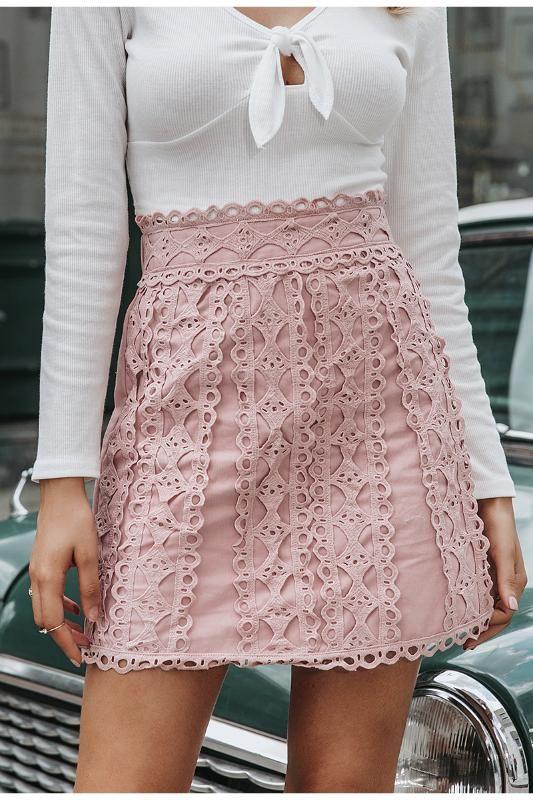 las mujeres de encaje bordado Simplee línea una falda casual streetwear 2020 otoño femenina falda corta partido de las señoras del club mini faldas de color rosa