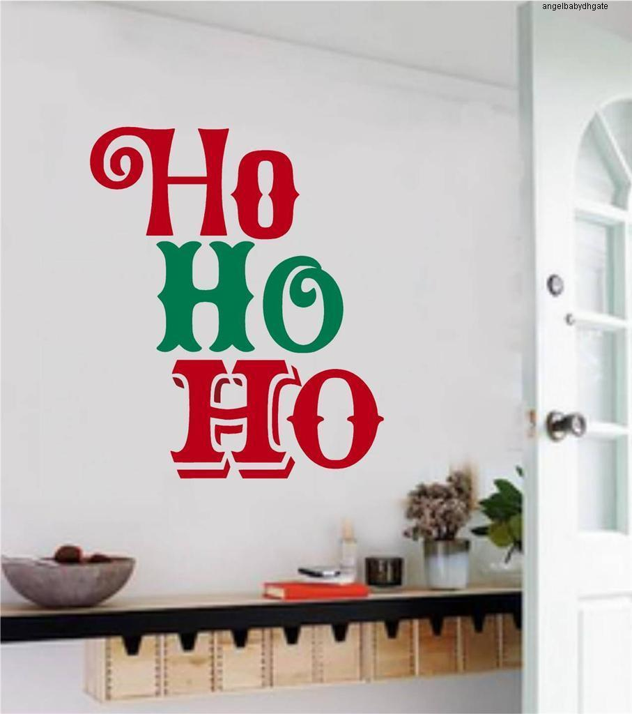 Vinyl Ho Ho Diy Christmas Quotes Wall Mural Decals Wall Sticker Living Room Home Decoration Mc003
