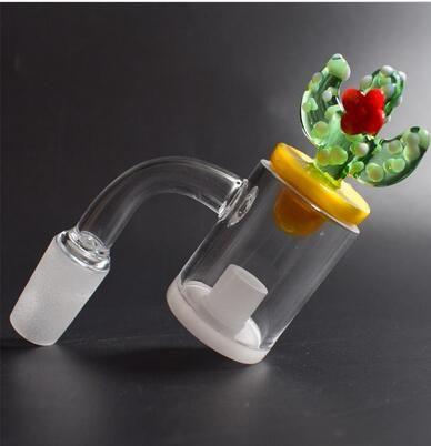 Top-Qualität 4mm Opaque Bottom Gavel Flat Top Kernreaktor Quarz-Banger-Nagel mit farbiger Ente Cactus Carb-Kappe für Glas Wasserpfeifen